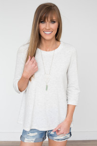 Lace Up Back Terry Knit Top - Oatmeal - FINAL SALE