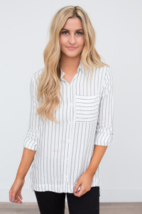 Vertical Striped Button Down Blouse - Ivory/Grey