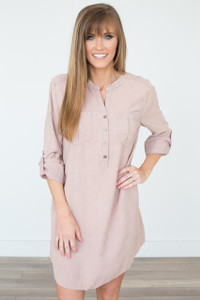 Stone Washed Shirt Dress - Dusty Rose - FINAL SALE