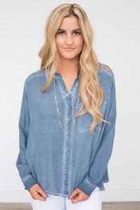 Crochet Lace Back Button Down - Slate Blue