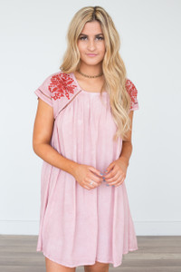 Vintage Wash Tribal Dress - Rose