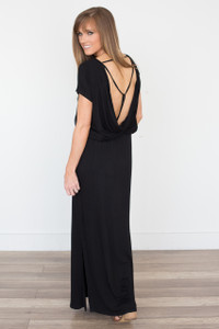 Strappy Open Back Maxi Dress - Black