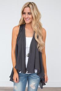 Crochet Lace Back Vest - Charcoal