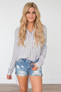 Striped Button Down Tunic - Grey/White