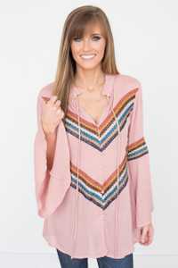 Chevron Crochet Detail Tunic - Dusty Rose - FINAL SALE