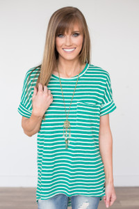 Striped Short Sleeve Tunic - Green