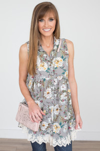 Lace Trim Sleeveless Floral Tunic - Grey