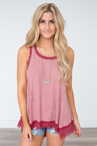 Vintage Wash Sleeveless Tunic - Red