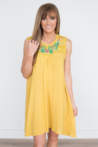 Floral Embroidered Dress - Mustard