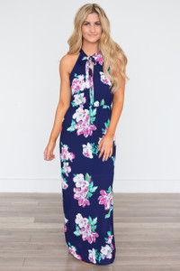Everly Floral Tie Neck Maxi Dress - Navy