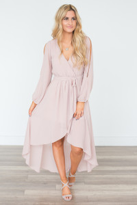 Long Sleeve High-Low Maxi Dress - Taupe