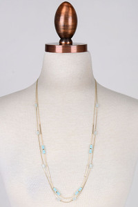 Double Strand Crystal Beaded Necklace - Mint