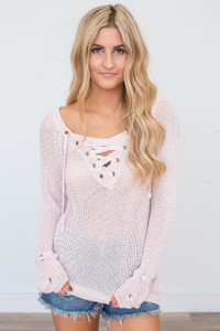 Lightweight Lace Up Sweater - Blush