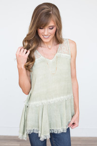 Sleeveless Lace Blouse - Light Olive