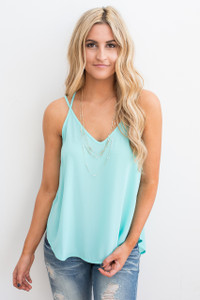 Strappy Back Detail Cami - Aqua