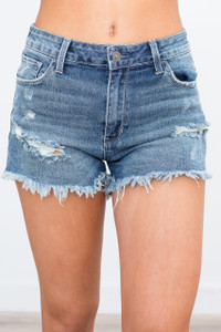 Frayed Distressed Denim Shorts - Medium Wash