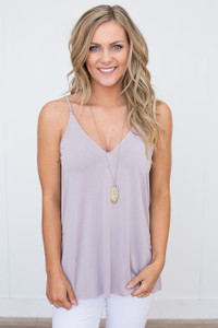 V-Neck Split Side Cami - Dusty Lilac