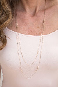 Dainty Multi Strand Necklace - White
