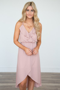 Ruffle Front High-Low Maxi Dress - Dusty Rose