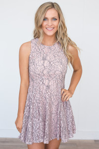 Lace Overlay A-Line Dress - Rose