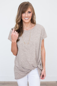 Basic Knot Front T-Shirt - Heather Mocha