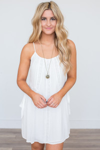 Lace Detail Tunic Dress - Off White