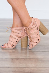 Lace Up Front Heels - Blush