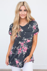 Floral Print Pocket Tee - Charcoal/Fuchsia