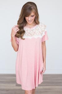 Lace Top T-Shirt Dress - Rose
