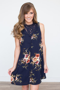 Crochet Lace Top Floral Dress - Navy