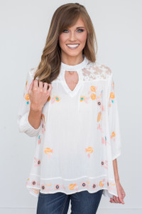 Floral Embroidered Keyhole Blouse - Off White