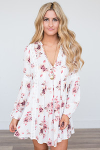 Lace Contrast Floral Dress - Off White/Blush