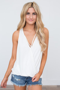 Wrap Front Sleeveless Top - Off White