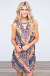 Mixed Print Trapeze Dress - Charcoal Multi