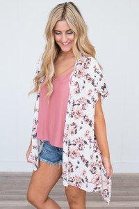 Bed Of Roses Floral Kimono - Ivory