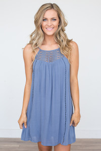 Crochet Detail Sleeveless Dress - Dusty Blue