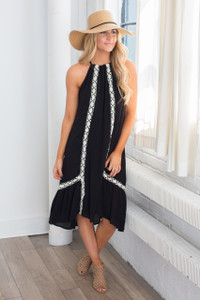 Crochet Detail Midi Dress - Black