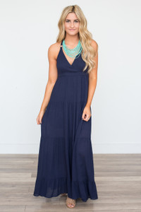 Tiered T-Back Maxi Dress - Navy