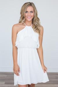 Ruffle Detail Sleeveless Dress - Off White