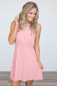 Embroidered Sleeveless Dress - Rose