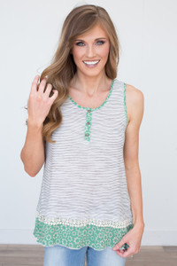 Floral Contrast Tank - Green/Ivory/Black - FINAL SALE