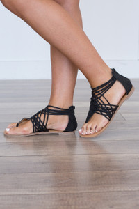 Strappy Zip Back Sandals - Black