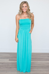 Solid Strapless Maxi Dress - Jade