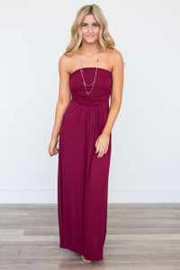 Solid Strapless Maxi Dress - Wine - FINAL SALE