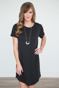 Short Sleeve T-Shirt Dress - Black