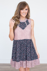 Floral & Lace Tiered Dress - Mauve