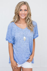 Short Sleeve Burnout Tunic Tee - Blue