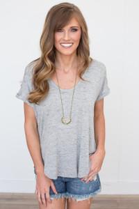 Short Sleeve Oversized Tee - Heather Grey