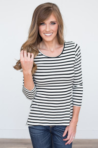 Striped Peplum Back Top - Ivory/Black