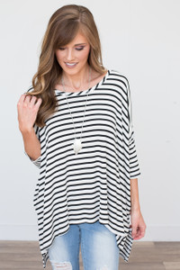 Striped 3/4 Sleeve Dolman Top - Ivory/Black